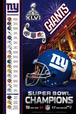 "New York Giants ""Super Bowl Champions XLVI"" Commemorative Poster - Action Images 2012"