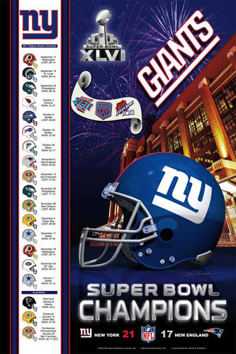 New York Giants Super Bowl XLVI Champions Commemorative Poster - Action Images 2012