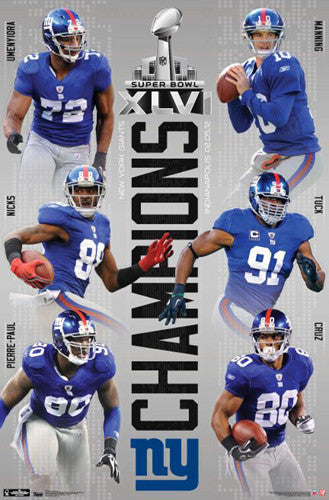 New York Giants Super Bowl XLVI Champions 6-Player Commemorative Poster - Costacos 2012