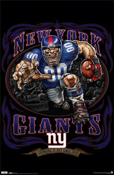 "New York Giants ""Grinding it Out Since 1925"" NFL Theme Art Poster - Costacos Sports"