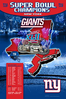 "New York Giants ""Giants Country"" Super Bowl XLII Champions Poster- Action Images 2008"