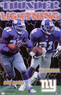 "Ron Dayne and Tiki Barber ""Thunder and Lightning"" New York Giants Poster - Starline 2000"