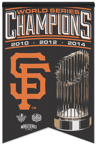 LAST ONE - San Francisco Giants 3-Time World Series Champions Premium Felt Banner - Wincraft Inc.