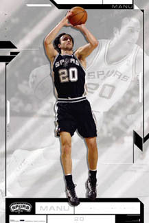 "Manu Ginobili ""Dynamo"" San Antonio Spurs NBA Action Poster - Costacos Sports 2005"
