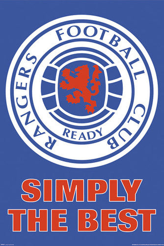 "Glasgow Rangers ""Simply the Best"" SPL Soccer Official Logo Crest Poster - GB Eye"