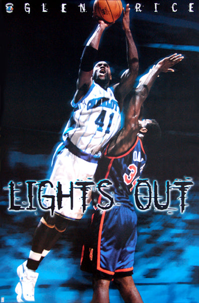 "Glen Rice ""Lights Out"" Charlotte Hornets NBA Action Poster - Costacos 1997"