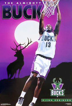 "Glenn Robinson ""Almighty Buck"" Milwaukee Bucks NBA Basketball Poster - Costacos Brothers 1995"