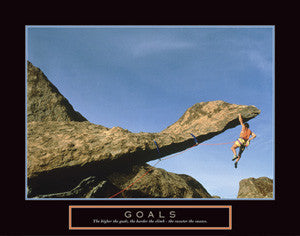 "Rock Climbing ""Goals"" (Hanging On) Motivational Poster - Front Line"
