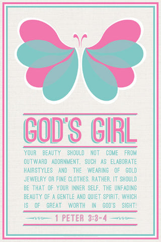 God's Girl (1 Peter 3:3-4) Christian Inspiratonal Poster - Slingshot Publishing