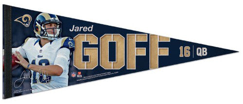 "Jared Goff ""Signature Series"" L.A. Rams Premium Felt Collector's PENNANT - Wincraft 2016"