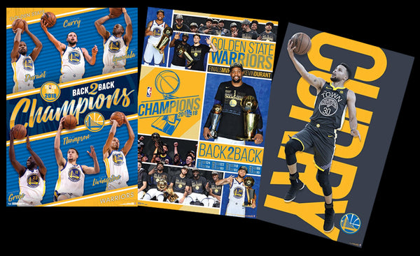 COMBO: Golden State Warriors 2018 3-Poster Combo Set (Champions, Celebration, Curry)