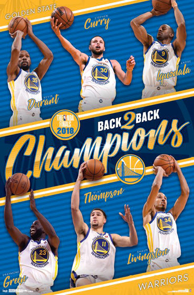 *SHIPS 6/18* Golden State Warriors 2018 Back-to-Back NBA Champions 6-Player Commemorative Poster