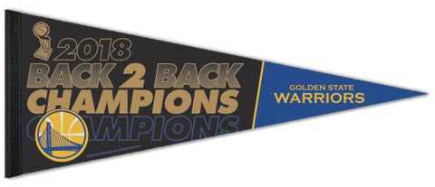 Golden State Warriors 2018 Back-to-Back NBA Champions Premium Felt Collector's Pennant - Wincraft