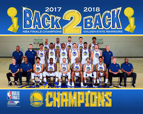779314cf5add Golden State Warriors 2017-18 Back-2-Back NBA Champions Official Team  Portrait