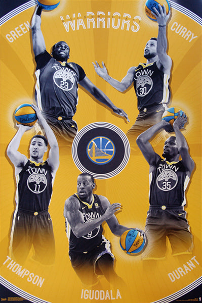 "Golden State Warriors ""Big Five"" Poster (Durant, Curry, Thompson, Iguodala, Green) - Trends 2018"
