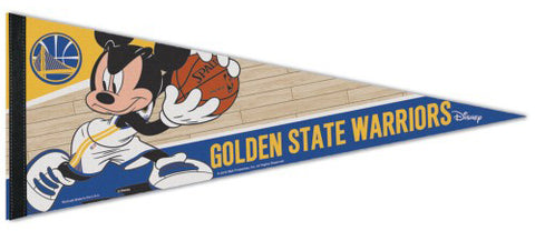 "Golden State Warriors ""Mickey Mouse Point Guard"" Official Disney NBA Premium Felt Collector's Pennant - Wincraft Inc."