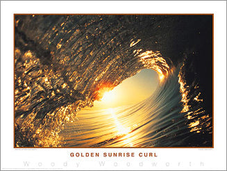 "Surfing ""Golden Sunrise Curl"" California Classic Poster Print - Creation Captured"