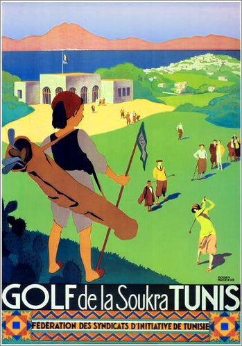 Golf de la Soukra Tunis 1932 (Artist Roger Broders) Vintage XL Poster Reproduction - Pro Artis