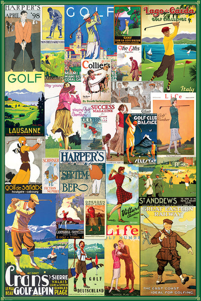 Golf Posters Collage (25 Vintage Classic Reproductions) Poster - Eurographics Inc.