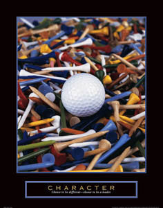 "Golf ""Character"" Motivational Poster (Ball Among Tees) - Front Line"