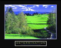 "Golf ""Determination"" (High Mountain Hole) Motivational Poster - Front Line"