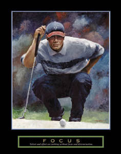 "Golf ""Focus"" Motivational Art Poster Print (Tiger Woods Style by T.C. Chui) - Front Line"