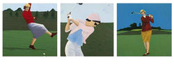 """Golf Gals"" Vintage-Style Art Triptych by Vincent Scilla"