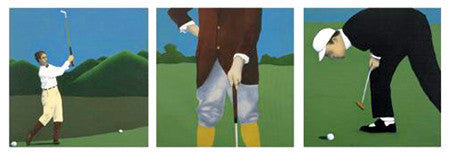 """Golf Guys"" Vintage-Style Art Triptych by Vincent Scilla"