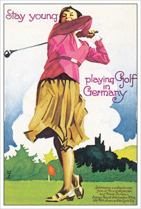 "Women's Golf ""Golf in Germany"" c.1930 Vintage Poster Reprint - Eurographics"