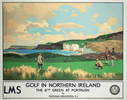 Royal Portrush Golf 1940s-Era Vintage Travel Poster Reprint - Front Line