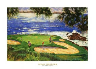 "Pebble Beach Golf ""Golfer's Paradise"" Poster Print by Scott Medlock"