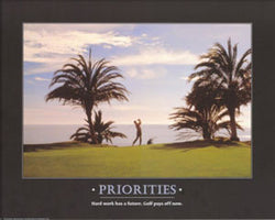 "Golf ""Priorities"" Motivational Poster - Angel Gifts Inc."