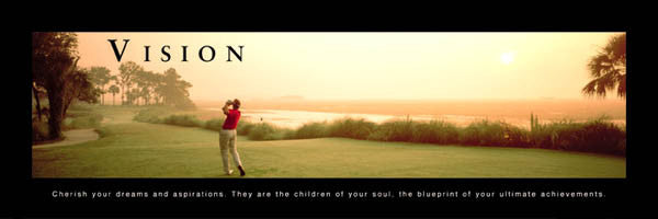 "Golf ""Vision"" (First Tee Panorama) Motivational Poster - Front Line"