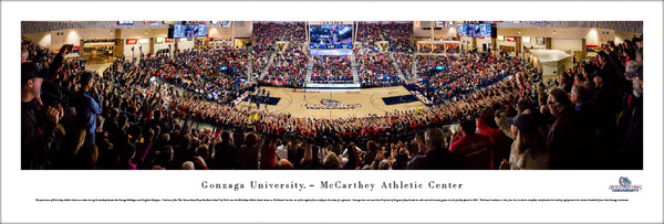 Gonzaga Bulldogs Basketball McCarthey Center Game Night Panoramic Poster Print - Blakeway Worldwide