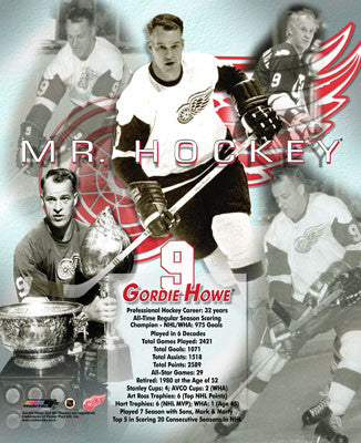 "Gordie Howe ""Mr. Hockey"" Detroit Red Wings Career Commemorative Premium Poster Print"
