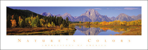 "Grand Teton Peak, Wyoming ""Nature's Colors"" Panoramic Poster - Front Line"