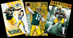 COMBO: Green Bay Packers 3-Poster ACTION Combo (Aaron Rodgers, Alexander, Adams)