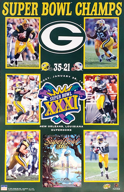 Green Bay Packers 'Super Heroes' Super Bowl XXXI Champs Poster- Starline 1997