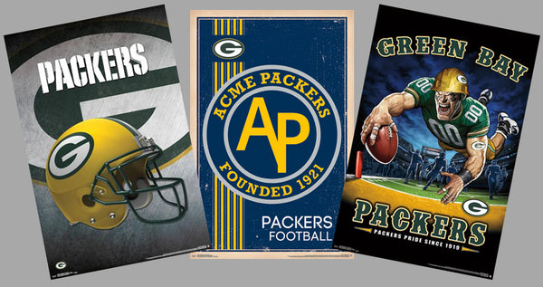 COMBO: Green Bay Packers NFL Football Logo Theme Art 3-Poster Combo Set - Trends International