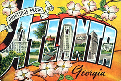 Greetings from Atlanta 1950s Teich Company Postcard Poster-Sized Reprint - Eurographics
