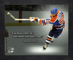 "Wayne Gretzky ""Take Shots"" Edmonton Oilers FRAMED 16x20 PRO QUOTES PRINT - Photofile"