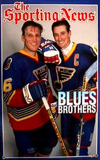 "Wayne Gretzky and Brett Hull ""Blues Brothers"" Poster - Norman James Corp. 1996"