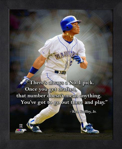 "Ken Griffey Jr. ""No. 1"" Seattle Mariners FRAMED 16x20 PRO QUOTES PRINT - Photofile"
