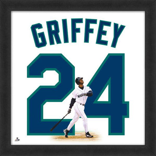 "Ken Griffey Jr. ""Number 24"" Seattle Mariners MLB FRAMED 20x20 UNIFRAME PRINT - Photofile"