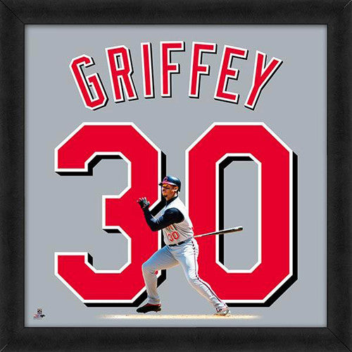 "Ken Griffey Jr. ""Number 30"" Cincinnati Reds MLB FRAMED 20x20 UNIFRAME PRINT - Photofile"