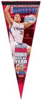 Blake Griffin 2010-11 NBA Rookie of the Year L.A. Clippers Felt Collector's Pennant