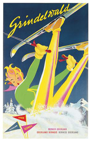 "Vintage Skiing Grindelwald, Switzerland ""Wipeout"" (1930) Poster Reprint - A.A.C. Inc."