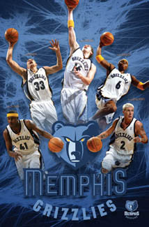 "Memphis Grizzlies ""Five Stars"" NBA Basketball Action Poster - Costacos 2005"
