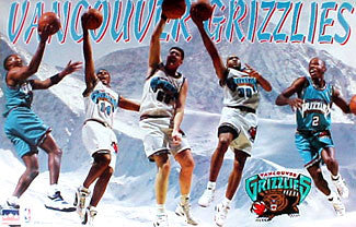 "Vancouver Grizzlies ""Superstars"" NBA Action Poster (Shareef, Lynch, Reeves, G-Money, Blue) - Starline 1996"