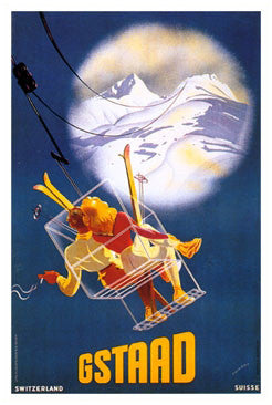 "Gstaad ""Ski Romance"" Vintage Poster Reprint (c.1928) - AAC Inc."